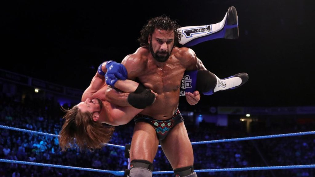 AJ styles fighting with jinder mahal