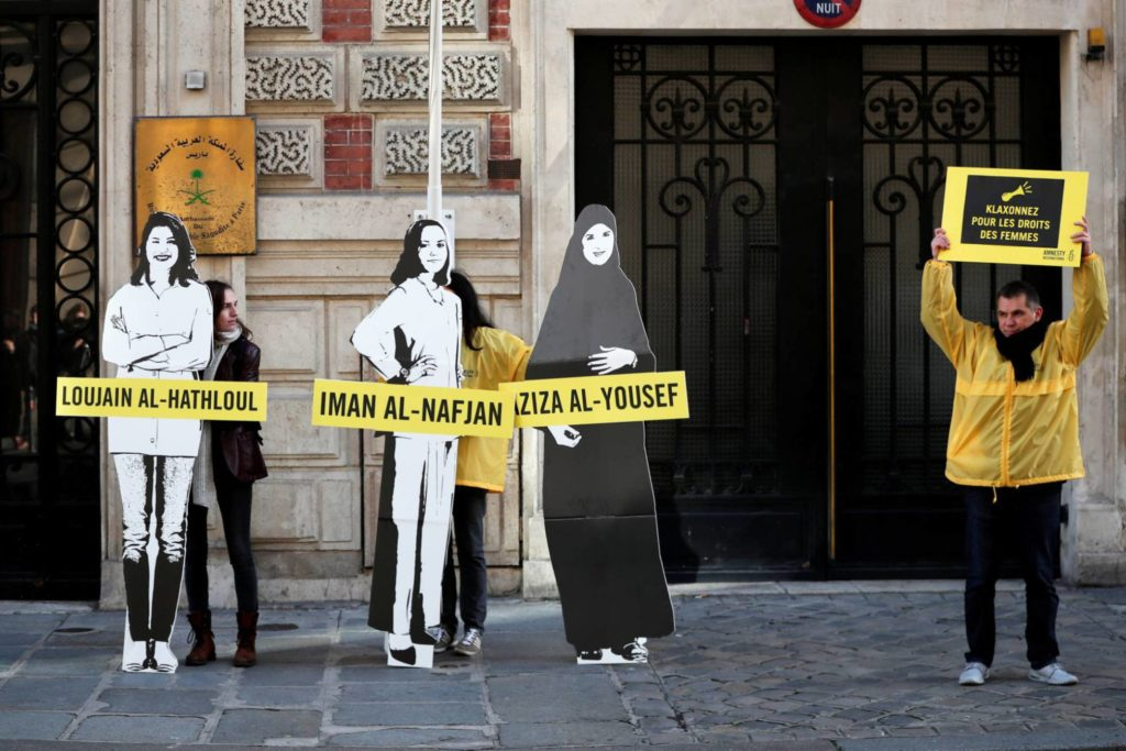 Amnesty International activists protest against arrests of Saudi feminists in March